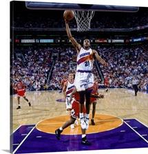 Richard Dumas 21 of the Phoenix Suns attempts a dunk against the Chicago Bulls