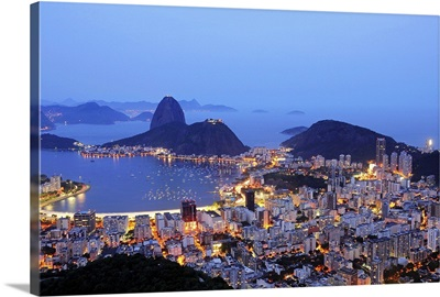 Rio de Janeiro, Brazil, Guanabara Bay at dusk.