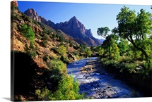 River with mountain backdrop, Zion National Park, Utah