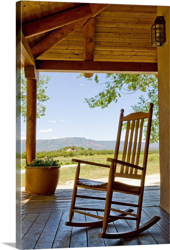 Rocking Chair At Ranch House Porch. Canvas