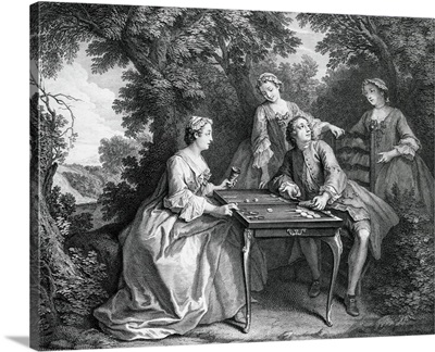 Rococo aristocrats playing Tric-Trac
