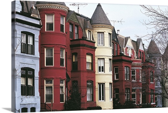 Washington Dc Wall Art row houses, georgetown, virginia, washington dc wall art, canvas