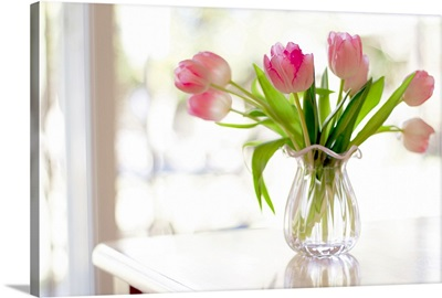 Ruffled pink glass vase filled with soft, pink tulips in front of window
