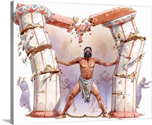 Samson Standing Chained At Ankles Pushing Down Pillar In Temple Of Dagon Wall Art Canvas