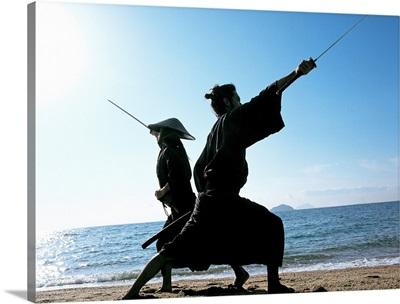 Samurai warriors attacking each other