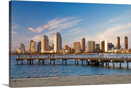 San Diego city skyline, California, Wall Art, Canvas Prints, Framed ...