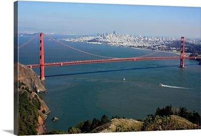 San Francisco bay and Golden Gate bridge.