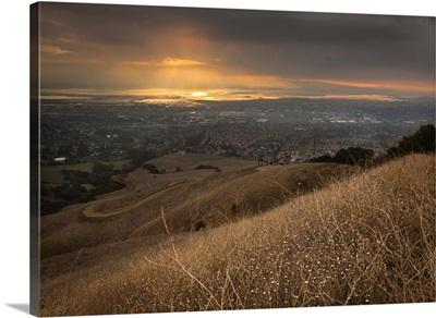 San Francisco Bay under golden sunset from Mission Peak, Fremont, California.