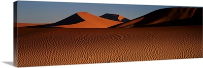 Sand dunes rippled by wind, Namibia
