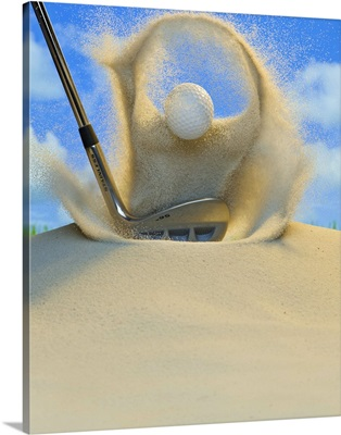 Sand wedge hitting a golf ball out of a sand trap