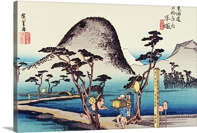 Scenery of Hiratsuka in Edo Period, Painting, Woodcut, Japanese Wood Block Print