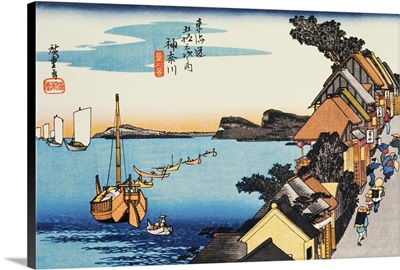 Scenery of Kanagawa in Edo Period, Painting, Woodcut, Japanese Wood Block Print