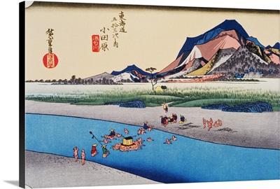 Scenery of Odawara in Edo Period, Painting, Woodcut, Japanese Wood Block Print