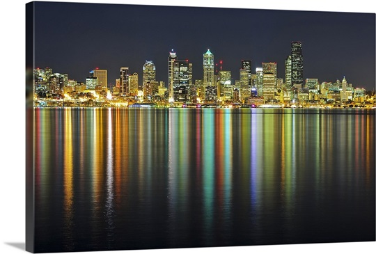 seattle skyline at night with reflection in water of sea wall art
