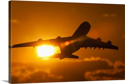 Silhouette of a commercial  aeroplane
