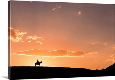 Silhouette Of Horseback Rider On Ridge, Fairplay, Colorado