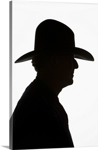 Silhouette Of Man In Profile Wearing Traditional Cowboy