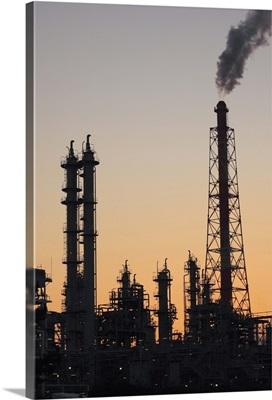 Silhouette of petrochemical plant, Sakai city, Osaka prefecture, Japan