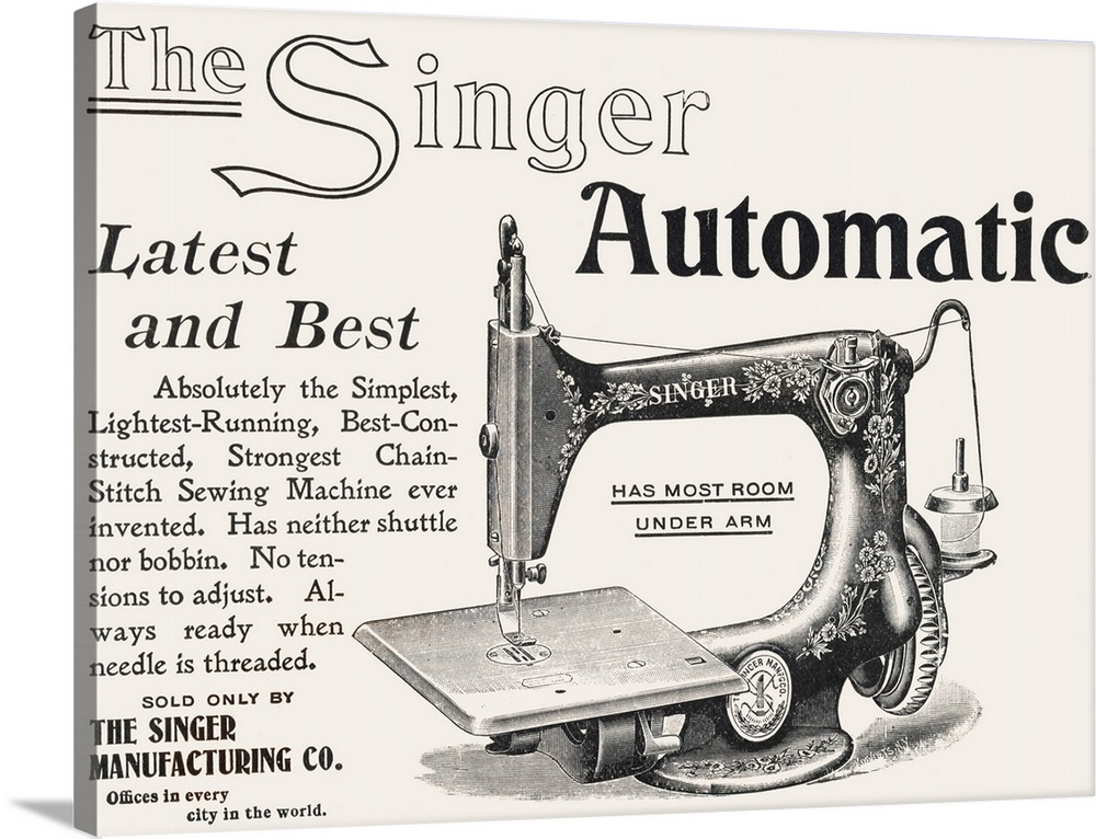 Singer Automatic Sewing Machine Advertisement Wall Art Canvas Prints Framed Prints Wall Peels Great Big Canvas