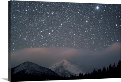 Sirius, the brightest star in the sky, over Rocky Mountain National Park, CO.