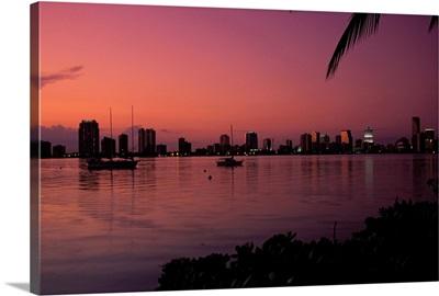Skyline at Sunset in Miami, Florida