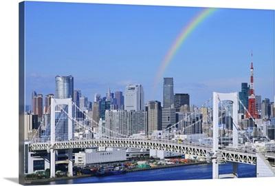 Skyline of Tokyo and Rainbow bridge, Tokyo Prefecture, Honshu, Japan