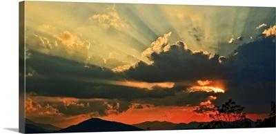 Smoky mountain at sunset, Asheville, North Carolina