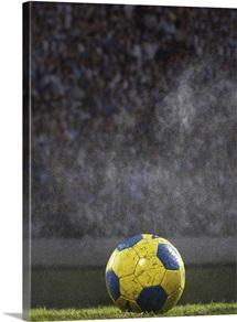 Soccer ball on field in rain