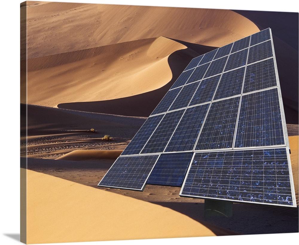 Solar panel in desert, Namib desert, Namibia