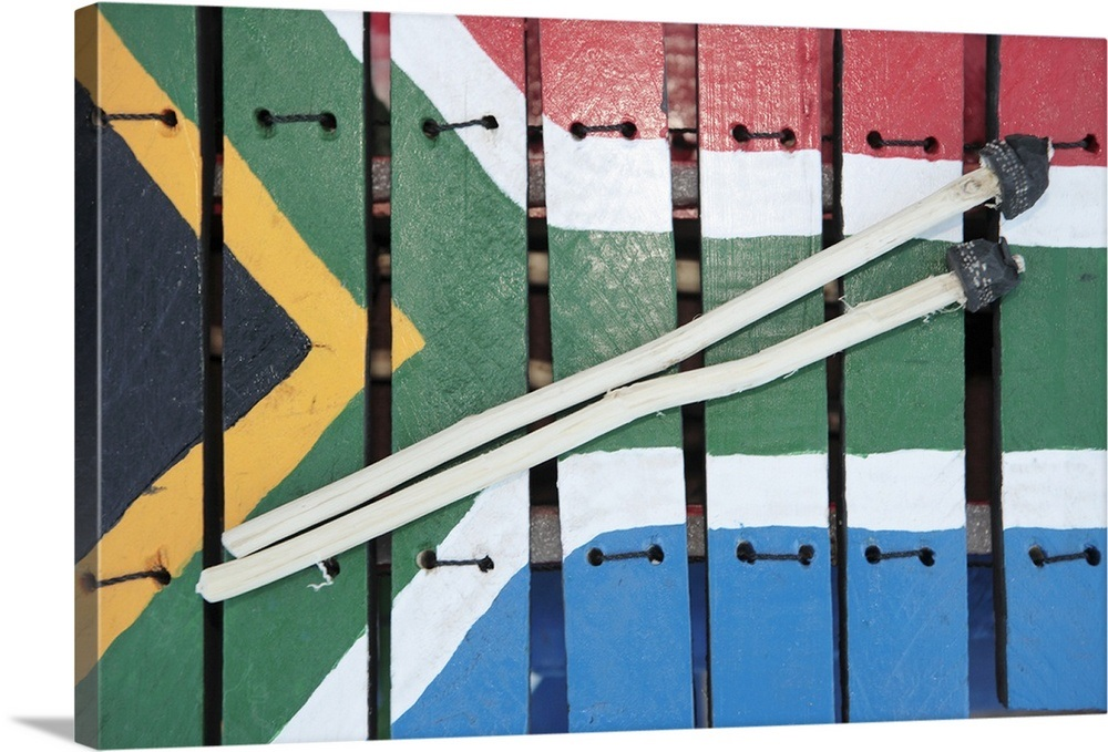 South African Flag Painted On Wooden Xylophone