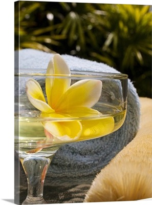 Spa elements, yellow plumeria floating in glass, with loofah and towel.