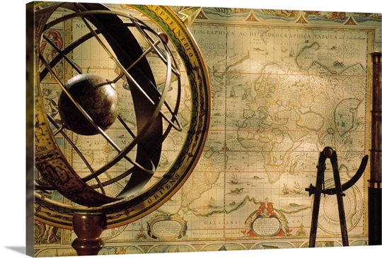 spyglass and compass with old map and globe Wall Art Canvas