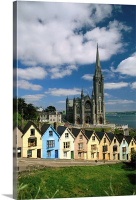 St. Coleman's Cathedral Of Cobh Behind Colorful Row Houses