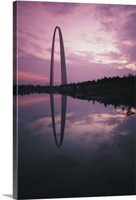 St. Louis Arch reflecting in Mississippi River, Missouri