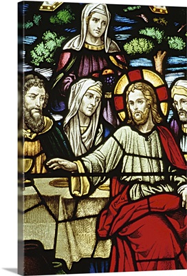 Stained glass painting of last supper