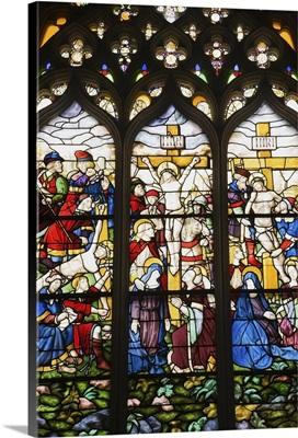 Stained Glass Window Detail In Church At Santa Maria da Vitoria Monastery
