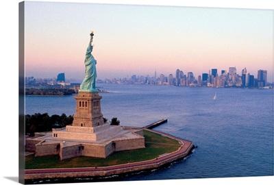 Statue of Liberty and skyline of New York City, USA