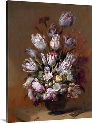 Still Life With Tulips And Other Flowers By Hans Bollongier