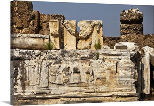 Stone carving detail roman amphitheatre turkey wall art