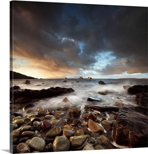 Storm Pebble Stone Beach Elgol Isle Skye Scotland