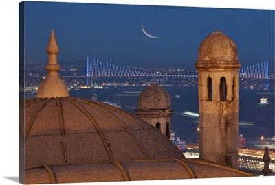 Suleymaniye chimneys with Bosphorous Bridge in background.