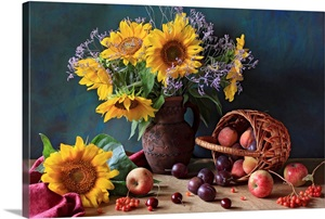 Summer Still Life With Sunflowers Apples Peaches Plums