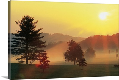 Sunrise over rural landscape with fog