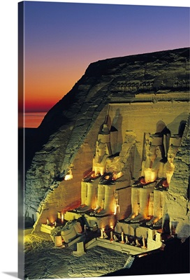 Sunset at temple of Abu Simbel, Egypt