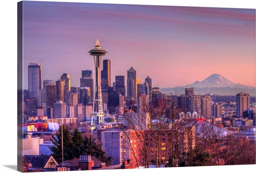 Sunset Behind Seattle Skyline From Kerry Park Wall Art
