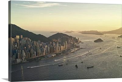 Sunset of Hong Kong Victoria harbor.