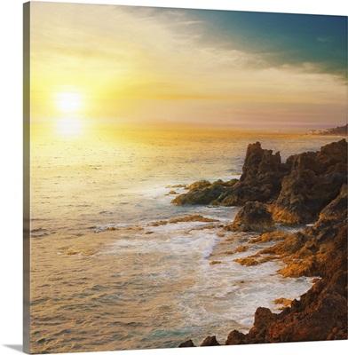 Sunset on rocks.