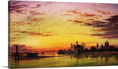 Sunset On The Laguna Of Venice, Italy By Edward William Cook