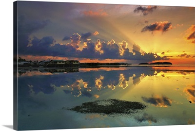 Sunset over a lake, Malaysia