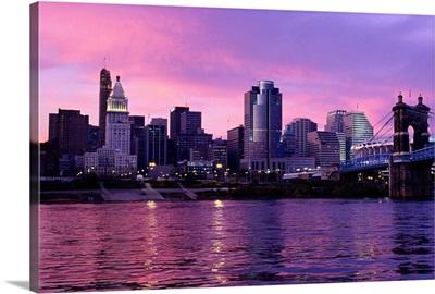 Sunset Over Cincinnati and the Ohio River, Ohio